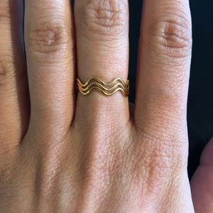 Jewelry - Adjustable Wavy Gold Ring Size 7-8